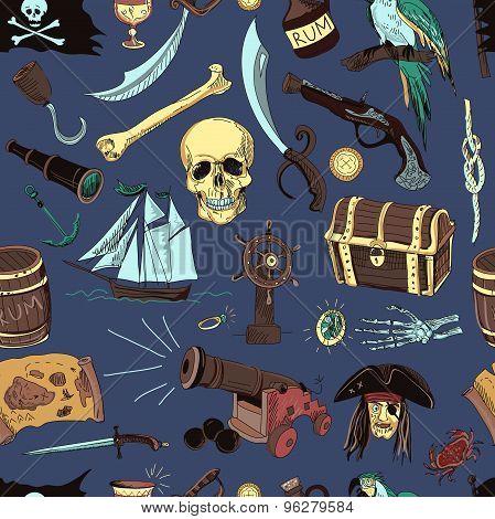 colored Pirates pattern. Hand drawn
