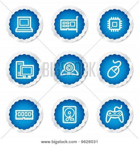 Computer Web Icons, Blue Stickers Series