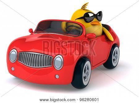 Yellow bird in a car