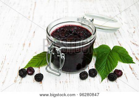 Blackberry Jam And Fresh Blackberries