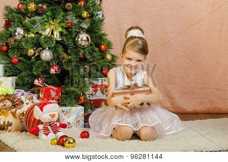 Five-year Girl With A Christmas Present