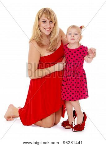 Charming blonde mother and daughter