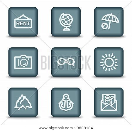 Travel Web Icons  Grey Square Buttons