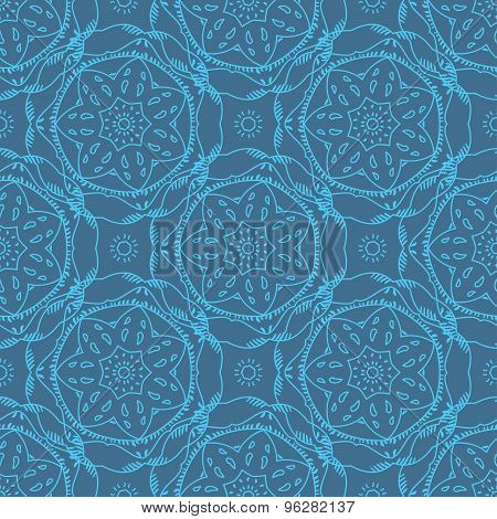 Seamless pattern flower line