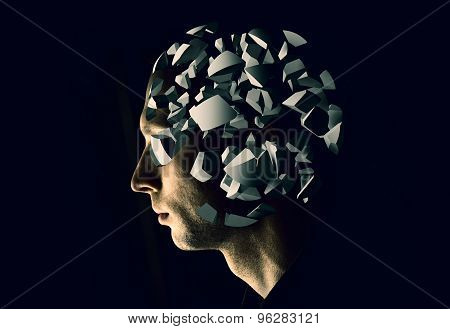 Cyborg Profile Portrait With Brain Explosion Fragments