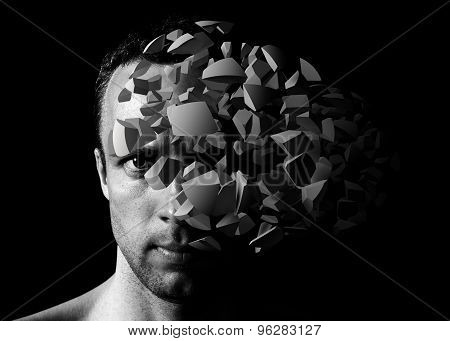 Man Portrait With 3D Explosion Fragments