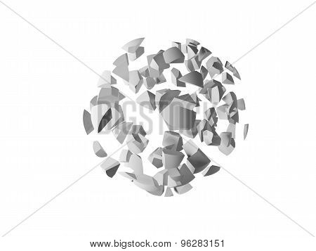 Explosion 3D Object, Cloud Of Spherical Fragments