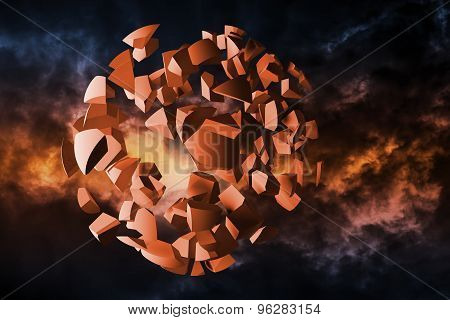 Explosion Illustration, Cloud Of Spherical Fragments