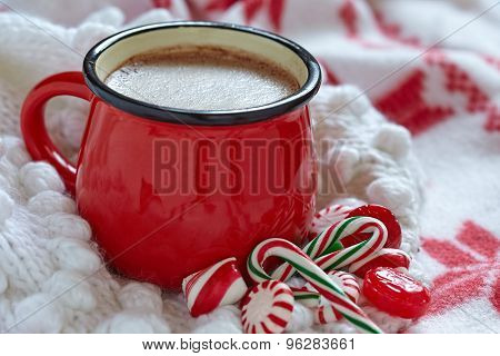 Hot chocolate  in a red mug