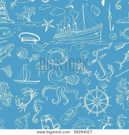 Nautical or marine themed seamless pattern