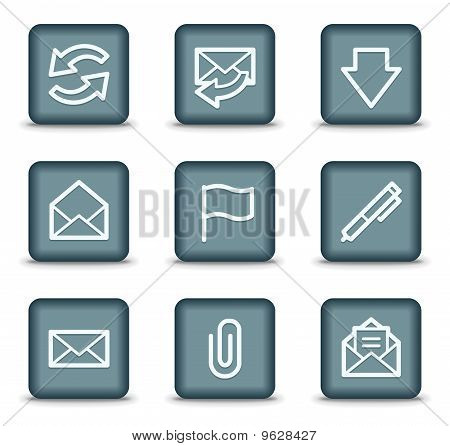 E-mail Web Icons, Grey Square Buttons