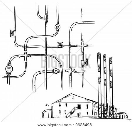 power  plant. Factory. Pipelines.