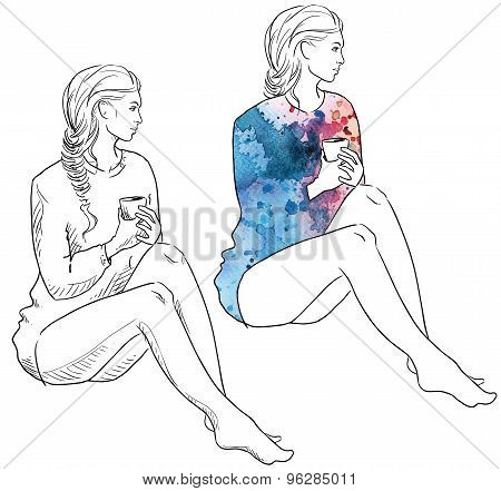 Girl in a sweater holding a cup of coffee sitting. Fashion illustration.