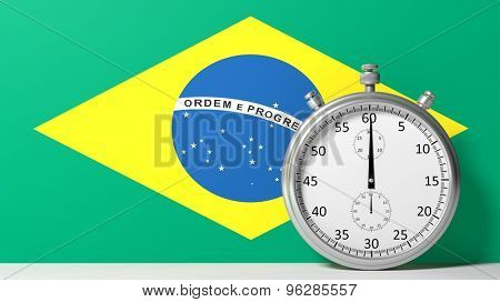 Flag of Brazilian with chronometer