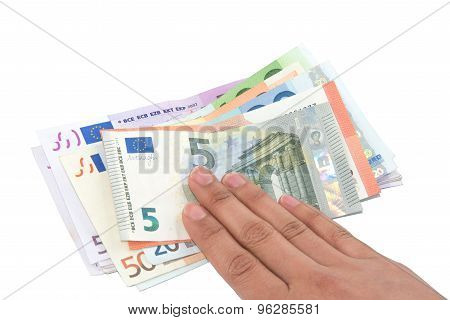 Isolated hand on Euro banknotes