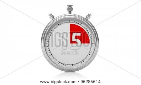 Silver chronometer set on 15 seconds, isolated on white
