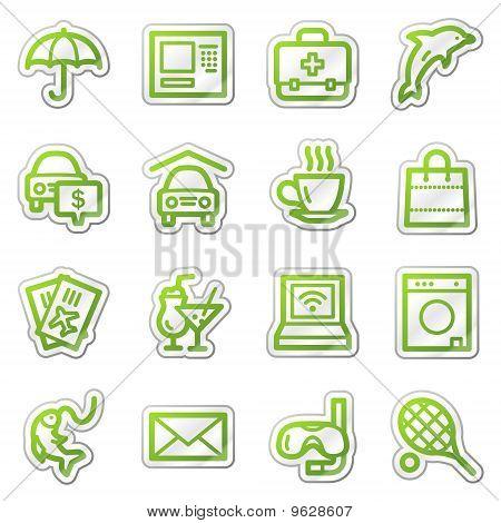 Hotel Service Web Icons, Green Sticker Series