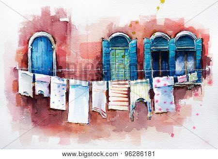 Venetian windows.  Watercolor painting.