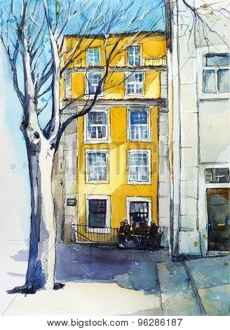 Quiet Lisbon street. Watercolor sketch.