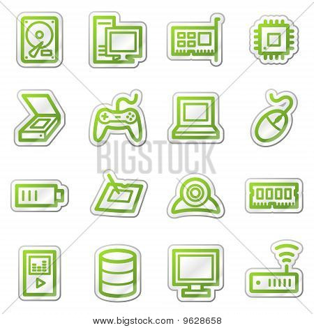Computers And Electronics Web Icons, Green Sticker Series