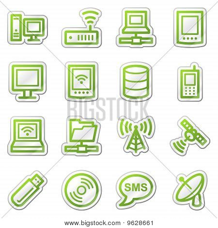 Computers And Electronics Web Icons  Green Sticker Series