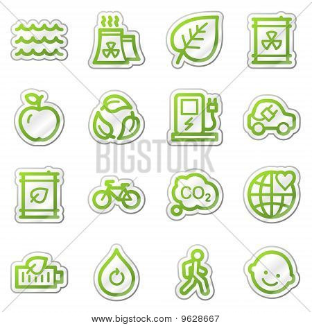 Ecology Web Icons Green Sticker Series