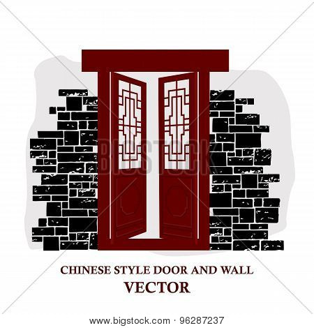 Chinese style window tracery pattern door and wall.