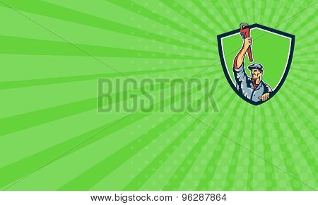 Business Card Plumber Raising Up Monkey Wrench Shield Retro