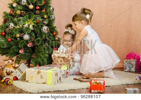 Two Girls Have Opened A Christmas Gift
