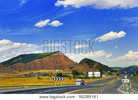 Highway Between Hills In Central Spain