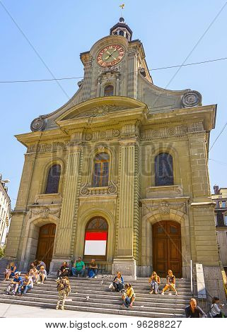 View Of Saint Laurent Church In Lausanne In Summer