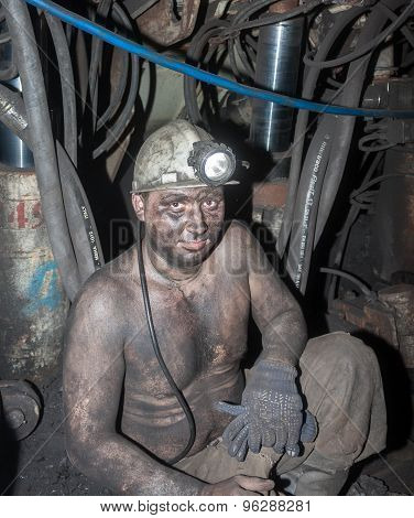 Novogrodovka, Ukraine - January 18, 2013: Miner In The Workplace In The Mine