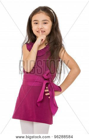 Beautiful dark-haired little fashionable girl