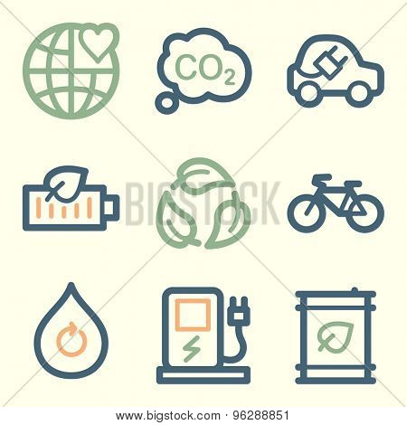 Ecology web icons, square buttons
