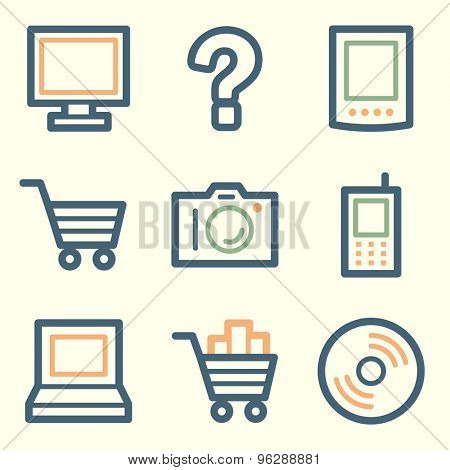 Electronics web icons, square buttons
