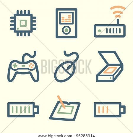 Electronics web icons, square buttons