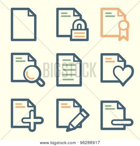 Document web icons, square buttons
