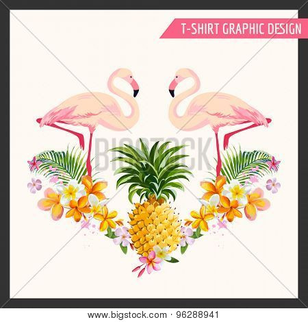 Tropical Flowers and Flamingo Graphic Design - for t-shirt, fashion, prints - in vector