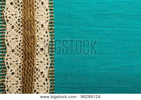 Vintage White Lace Over Blue Background