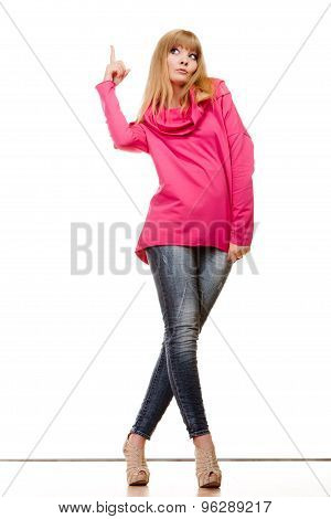 Woman Pink Blouse Showing Copy Space