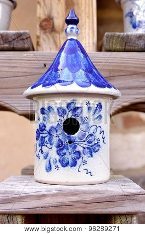 Ceramic Birdhouse with Blue and White Designs