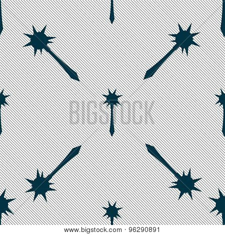 Mace Icon Sign. Seamless Pattern With Geometric Texture. Vector