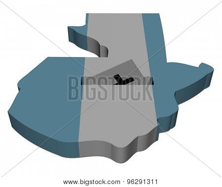 Guatemala election map with ballot paper illustration