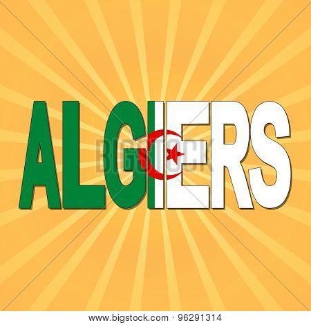 Algiers flag text with sunburst illustration