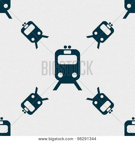 Train Icon Sign. Seamless Pattern With Geometric Texture. Vector