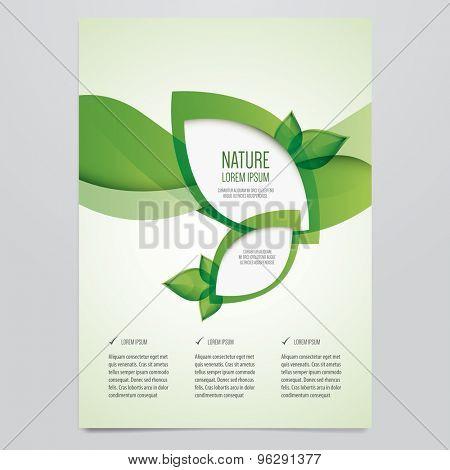 Vector business brochure, flyer template. Modern green leaf, environment design.