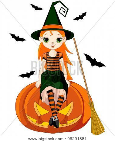 Illustration for Halloween witch sitting on pumpkin