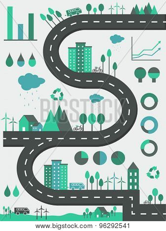 Creative ecological infographic elements with illustration of buildings, vehicles, trees and wind turbines.