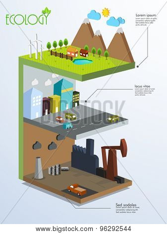 Creative ecological infogrphics template layout with 3D view of a city.