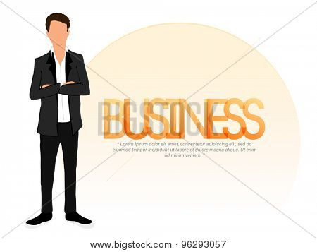 Young businessman character on stylish background.
